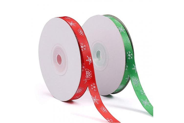(50 Yards Christmas Snowflake Ribbon) - Tmflexe 50 Yards 1cm Christmas Snowflake Ribbon Wrapping Printed Grosgrain Ribbon for Christmas Party Gift Wrapping Crafts Decoration
