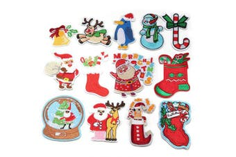 (mix-B) - Christmas Assorted Embroidered Patches On Or Sew Embroidered Patch Set for Jackets