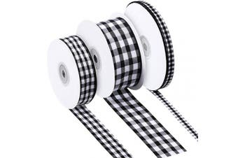 100 Yards Black and White Buffalo Plaid Ribbon 3 Size Buffalo Chequered Plaid Ribbons Wide Gingham Ribbon for Floral, Craft, Holiday Decoration