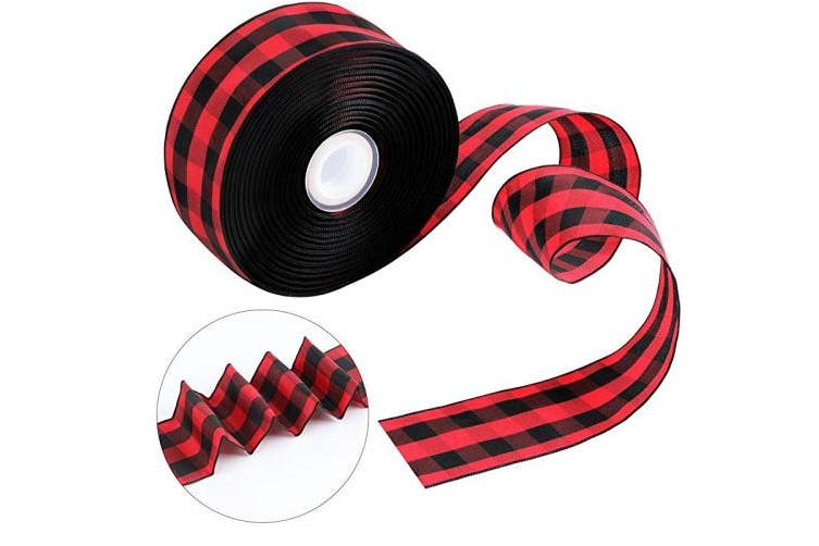 (Black Red) - Tatuo Wide Wired Plaid Taffeta Ribbon 25 Yards 3.8cm Gingham Ribbon Craft Wide Plaid Ribbon for DIY Craft Party Gift Supplies Black White (Black Red)