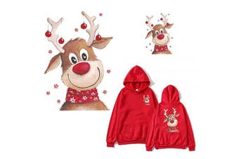Christmas Deer Patches Elk Heat Transfer Appliques 2 Pcs Cute Xmas Iron On Stickers Decals with Washable and Waterproof for Free DIY Decoration Jackets Jeans T-Shirt Backpack(Big One and Small one)