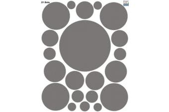 (Grey) - Create-A-Mural Polka Dot Wall Stickers, Wall Decor Stickers, Wall Dots, Vinyl Circle Room Dot Decals (Grey)