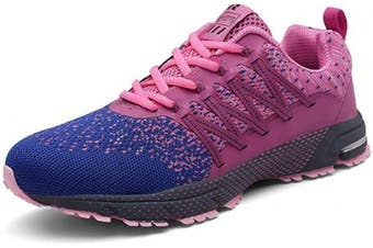 (4 UK, A Pink) - SOLLOMENSI Mens Womens Running Shoes Trainers Sports Gym Walking Jogging Athletic Fitness Outdoor Sneakers