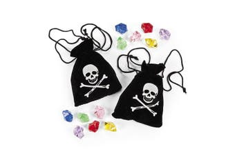 Suede Pirate Drawstring Bags With Jewels