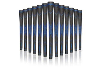 (Standard, Black&Blue(15 Tapes Included)) - Champkey Traction-X Golf Grips Set of 13(150ml Solvent,Hook Blade,15 Tapes & Vise Clamp Available)-Choose Between 13 Grips & All Repair Kits and 13 Grips & 15 Tapes
