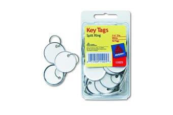 (1 1/4 dia.) - Avery White Metal Rim Key Tags 3.2cm 50/Pkg