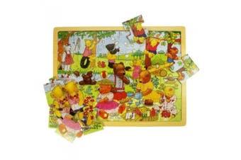 (Teddy's Picnic) - Bigjigs Toys BJ746 Tray Puzzle Teddy's Picnic