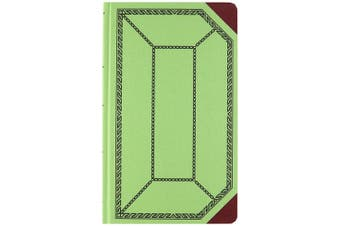 (Green) - Boorum & Pease 6718300R Record/Account Book, Record Rule, Green/Red, 300 Pages, 12 1/2 x 7 5/8
