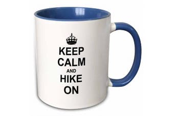 3dRose Keep Calm and Hike on - carry on hiking rambling - Hiker gifts - black fun funny humour humorous - Two Tone Blue Mug, 330ml