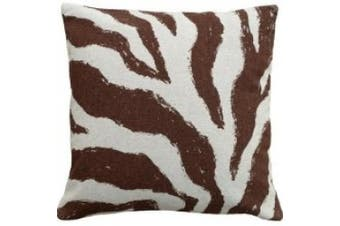 123 Creations Zebra 100% Linen Screen Print Pillow Colour: Brown