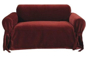 (Burgundy) - Classic Slipcovers Solid Velvet Loveseat Slipcover, Burgundy