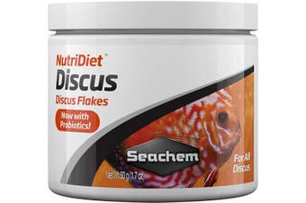 (50g50ml) - Seachem NutriDiet Discus Flakes - Fortified Ornamental Fish Food Supplement 50g