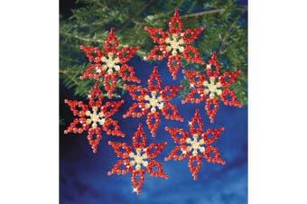 "(Poinsettias 3.5"" Makes 6) - Holiday Beaded Ornament Kit"