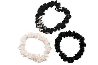 (Small, Black, Ivory, Black Marble) - Celestial Silk Mulberry Silk Scrunchies for Hair (Small, Black, Ivory, Black Marble)