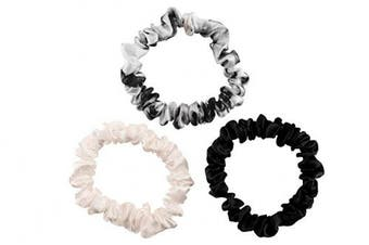 (Small, Black, Ivory, White Marble) - Celestial Silk Mulberry Silk Scrunchies for Hair (Small, Black, Ivory, White Marble)