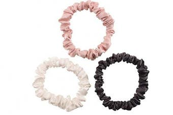(Small, Charcoal, Pink, Ivory) - Celestial Silk Mulberry Silk Scrunchies for Hair (Small, Charcoal, Pink, Ivory)