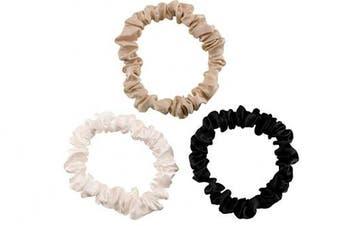(Small, Ivory, Black, Taupe) - Celestial Silk Mulberry Silk Scrunchies for Hair (Small, Ivory, Black, Taupe)