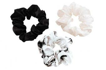 (Large, Black, Ivory, White Marble) - Celestial Silk Mulberry Silk Scrunchies for Hair (Large, Black, Ivory, White Marble)