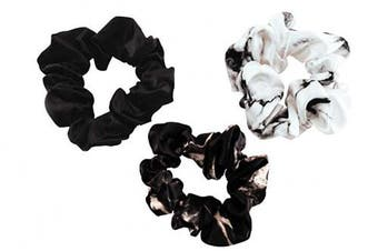 (Large, White Marble, Black Marble, Black) - Celestial Silk Mulberry Silk Scrunchies for Hair (Large, White Marble, Black Marble, Black)