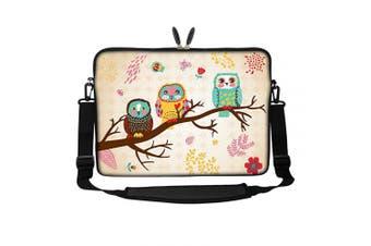 (Three Owls) - Meffort Inc 15 40cm Neoprene Laptop Sleeve Bag Carrying Case with Hidden Handle and Adjustable Shoulder Strap - Three Owls