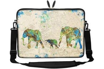 (Family of Elephants) - Meffort Inc 15 40cm Neoprene Laptop Sleeve Bag Carrying Case with Hidden Handle and Adjustable Shoulder Strap - Family of Elephants