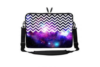 (Chevron Pattern Galaxy) - Meffort Inc 15 40cm Neoprene Laptop Sleeve Bag Carrying Case with Hidden Handle and Adjustable Shoulder Strap - Chevron Pattern Galaxy
