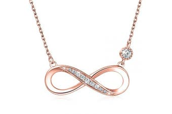 "(B-rose Gold) - 925 Sterling Silver Necklace – Billie Bijoux ""Endless Love"" Infinity Heart Pendant White Gold Plated Diamond Women Adjustable Necklace"