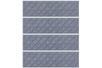 (Stair Treads, 22cm  x 80cm , Bluestone) - Bungalow Flooring Waterhog Indoor/Outdoor Stair Treads, Set of 4, 22cm x 80cm , Made in USA, Skid Resistant, Easy to Clean, Catches Water and Debris, Cordova Collection, Bluestone
