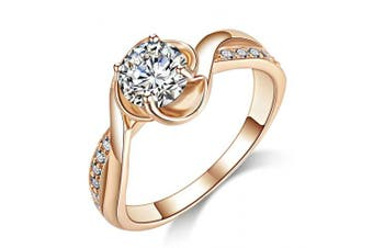 (I) - Acefeel Fashion Champagne Gold Plated Cubic Zirconia Promise Engagement Wedding Ring