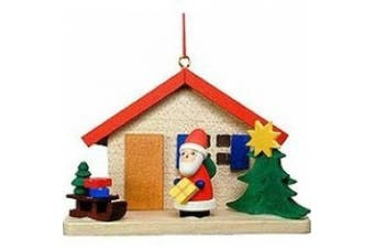 Christian Ulbricht Red Roof House with Santa Christmas Ornament