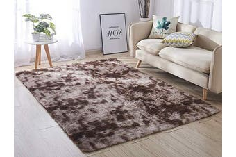 (1.2m x 1.5m, Coffee &) - ACTCUT Super Soft Indoor Modern Shag Area Silky Smooth Rugs Fluffy Anti-Skid Shaggy Area Rug Dining Living Room Carpet Comfy Bedroom Floor 4- Feet by 5- Feet (Coffee & )
