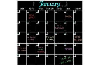 (Black) - Black Dry Erase Magnet Calendar Full