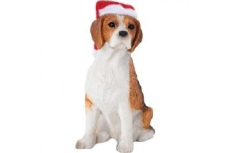 Sandicast Beagle with Santa Hat Christmas Ornament