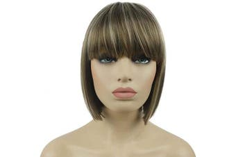 (#18-22 Lt Ash Brown) - Lydell 20cm Straight Short Bob Hair Flat Bangs Cute Central Dot Skin Top Heat Resistant Synthetic Wigs (18-22 Lt Ash Brown)