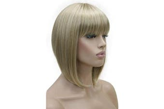 (#15BT613 Blonde Mix) - Lydell 25cm Short Bob Wigs No Part Full Synthetic Hair Wig Mix Blonde Wigs (15BT613)