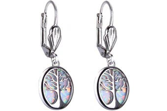 (01-white) - C.QUAN CHI Women 925 Sterling Silver Earrings Opal Drop Earring Jewellery Tree of life Best Friend Birthday Gift Dangle Earrings
