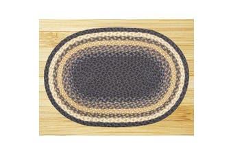 Earth Rugs Oval Area Rug, 50cm x 80cm , Light Dark Blue/Mustard