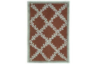 (0.3mx0.6m, brown/blue) - Safavieh Chelsea Collection HK230G-2 Hand-hooked Brown and Blue Wool Area Rug 0.3m x 0m 20.3cm by 0.3m x 0m 15.2cm 1'20.3cm x 2'15.2cm