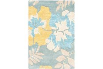 (blue/multi, 0.6mx0.9m) - Handmade Soho Blue/ Multi New Zealand Wool Rug (2' x 3')