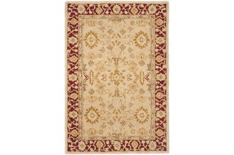 (0.6m x 0.9m, Ivory/ Red) - Safavieh Anatolia Collection AN551A Handmade Traditional Oriental Ivory and Red Wool Area Rug (0.6m x 0.9m)