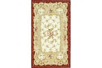 (0.6m x 1.2m, Ivory/ Burgundy) - Safavieh Hand-hooked Aubusson Ivory/ Burgundy Wool Rug (2'9 x 4'9)