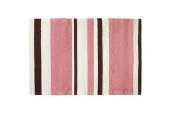 123 Creations Pink/Brown Stripe Hook Rug Rug Size: 2' x 3'