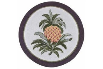 C&F Welcome Pineapple Round Hooked Rug 3'