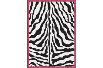 (2.1m x 3m) - Milliken Black & White Zebra Glam Pink Passion Rug Rug Size: 7'20cm x 10'23cm