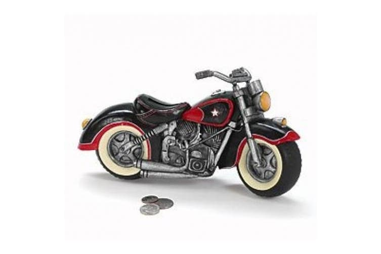 Black & Red Motorcycle Shaped Piggy Bank Home Decor