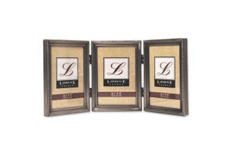 Lawrence Frames Traditional Hinged Triple Picture Frame Size: 7.6cm x 13cm , Colour: Antique Brushed Pewter