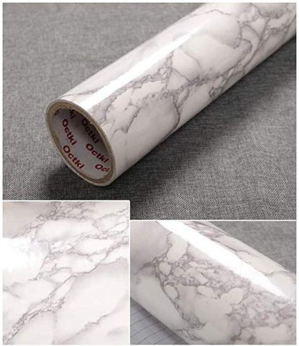 """(15.7 x78.7 , Grey Marble) - JLCorp 40cm x 200cm White Grey Marble Contact Paper Table Door Sticker Self-Adhesive Film Peel-Stick Wallpaper Gloss Countertops Shelf Liner Sticker Grey Furniture Sticker Size Name: 15.7""""x78.7""""Colour Name: Grey Marble Size:41cmx200cm, 16""""x78.7"""""""