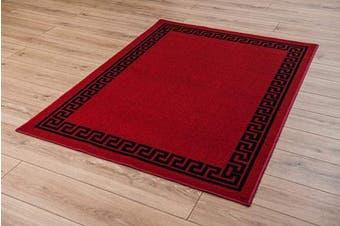 "(Red Black, 40 x 60 cm(1'4"" x1'12"")) - Machine Washable Greek Key, Triangular, Diamond Designs Anti Slip Rugs Doormats (Red Black, 40 x 60 cm(1'4"" x1'12""))"
