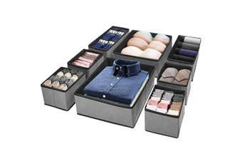 Puricon Drawer Organisers Storage Box for Underwear Clothes, Foldable Fabric Wardrobe Drawer Closet Divider Cubes Containers for Underwear, Bras, Socks, Scarves and Ties –Grey