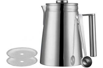 (800ml) - Meelio 800ML French Press, Double Wall 18/8 Stainless Steel Heat Resistant Tea or Cafetiere Kettle, Includes Coffee Measuring Spoon & 2 Extra Filter Screens